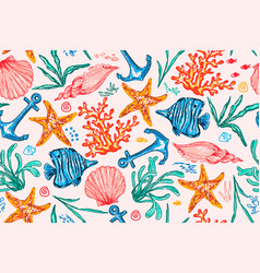 seamless pattern with sea creatures endless vector image