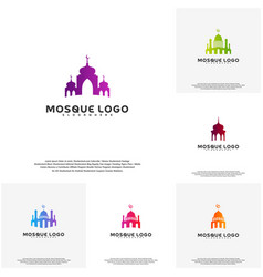 set islamic logo design mosque logo template vector image