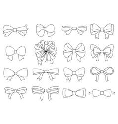 set of decorative bow for your design bow vector image
