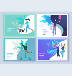 Set of landing page templates for hobby blog vector