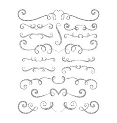 set of silver textured hand drawn vignettes vector image