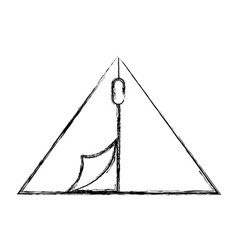 Sketch draw camping tent cartoon vector