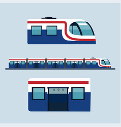 Sky train station flat design objects side view vector