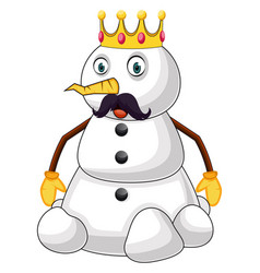 snowman king on white background vector image