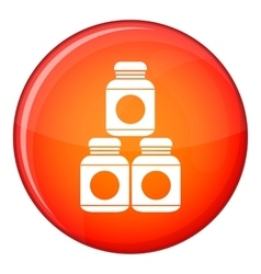 Sport nutrition containers icon flat style vector