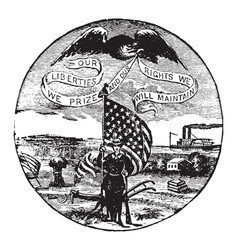 The official seal of the us state of iowa in 1889 vector