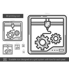 Three D printing line icon vector