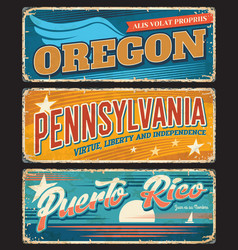 usa states travel rusty metal banners vector image