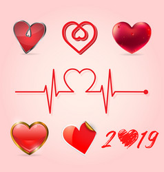 valentine heart collection vector image
