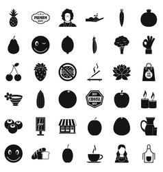Vegetarian kitchen icons set simple style vector