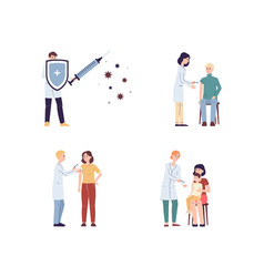 viral vaccination and health set with people flat vector image
