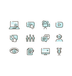 Web icons set collection outline symbol vector