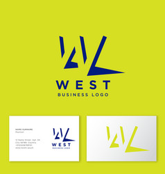 west logo monogram shadow perspective vector image