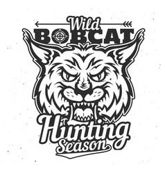 wild bobcat hunt trophy animal hunting season vector image