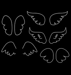 wings collection set with white angel or bird wing vector image