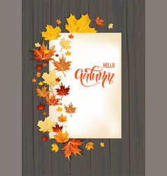 Wood fall leaves on dark background vector