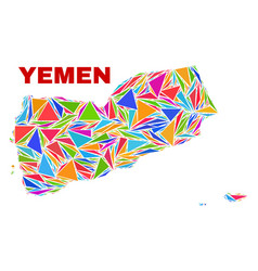 Yemen map - mosaic color triangles vector