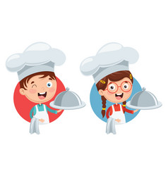 chef kids cooking vector image