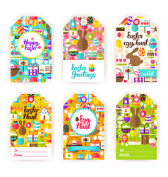 happy easter gift tag labels vector image vector image