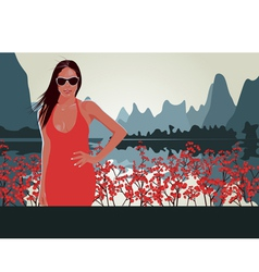 Red lips Red Flowers vector image vector image