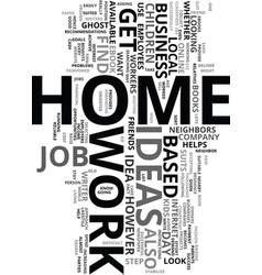 Work at home ideas text word cloud concept vector