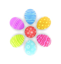 Easter set painted ornamental eggs with shadows vector image