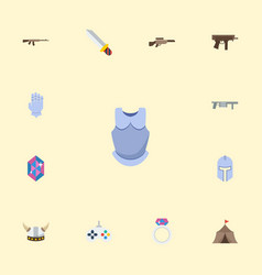 flat icons gem gun bulletproof and other vector image