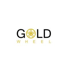 gold wheel logo vector image