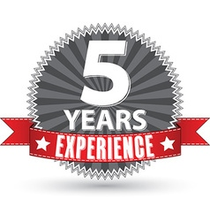 5 years experience retro label with red ribbon vector image