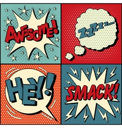 Set of Comics Bubbles in Pop Art Style vector image