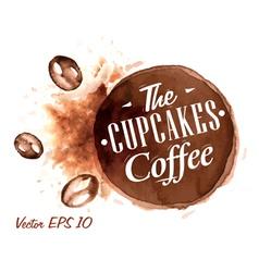 Set Watercolor Coffee Badges 4 vector image vector image