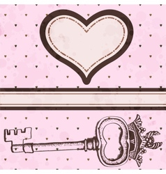 Vintage valentine card with antique key vector image vector image