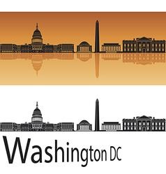 Washington DC skyline in orange background vector image vector image