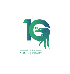 10 th anniversary bird model template design vector