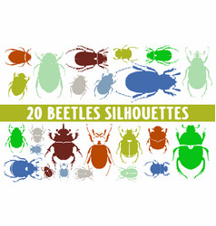 20 beetles silhouettes various design set vector