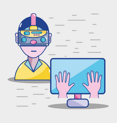 3d eyeglasses virtual experience game vector