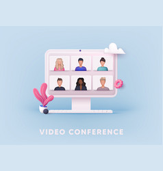 3d web teleconference web video conference vector image