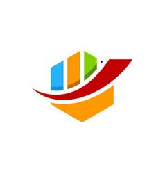 abstract colorful hexagon financial logo finance vector image