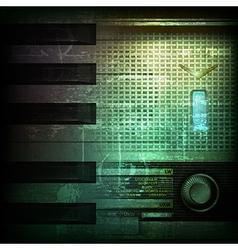 Abstract dark green grunge background with retro vector