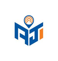 Abstract polygonal aj logo aj letter logo vector