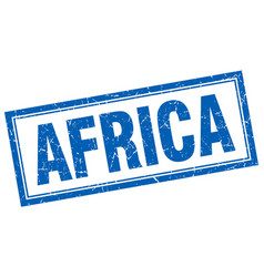 Africa blue square grunge stamp on white vector