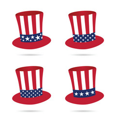 american flag on hat in color set vector image