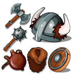 Ancient clothes and weapons of vikings vector