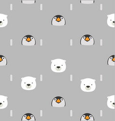 baby penguin and bear pattern vector image