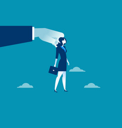 big hand using businesswoman for control vector image