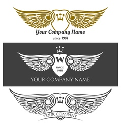 black angel wings logo set winged labels vector image