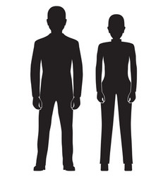 black silhouette of the woman and man vector image