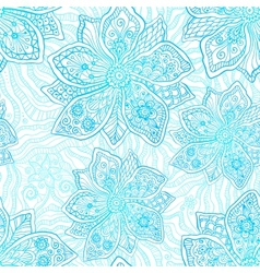 Blue and white ornate flowers pattern vector