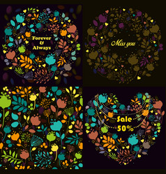 bright floral patterns set vector image