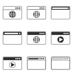 Browser icon set vector image